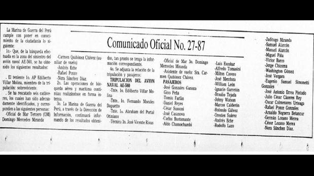 Comunicado oficial de la Marina de Guerra del Perú, publicado por El Comerico (Imagen: Archivo)