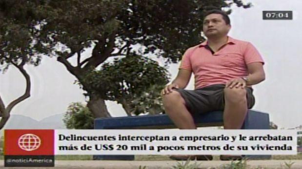 Nieto había retirado cinco mil dólares de una agencia bancaria ubicada en la avenida Canto Grande, en San Juan de Lurigancho.(América Tv.)