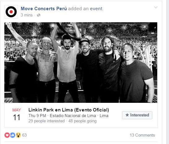 Evento creado por la empresa Move Concerts, organizadora del concierto de Linkin Park. (Captura: Facebook)