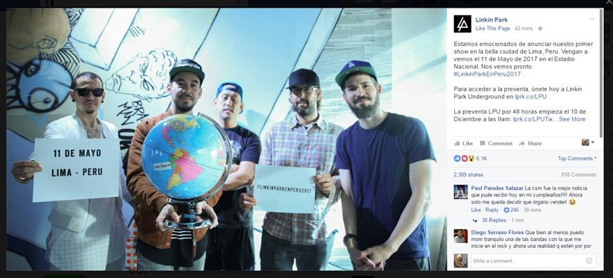 Linkin Park confirma su concierto en Perú. (Captura: Facebook)