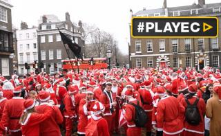 Navidad: Papa Noel invadió Nueva York y Londres [VIDEO]