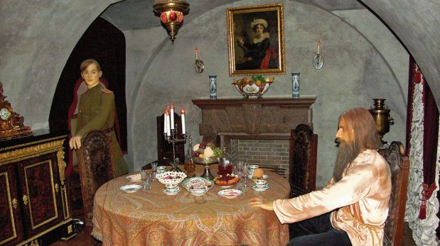 Recreación de los últimos momentos de Rasputín en el Palacio de Moika, San Petersburgo. (Wikimedia Commons)