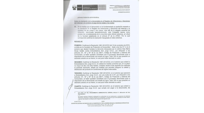 Indecopi resolvió desestimar la apelación de la Embotelladora Don Jorge. (Foto: Elsa Monge)