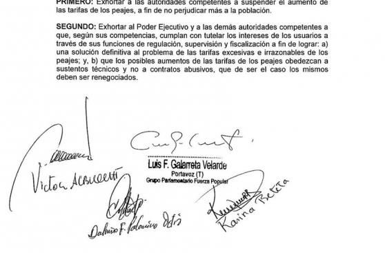 Luis Castañeda: Congreso pide anular peaje de forma definitiva