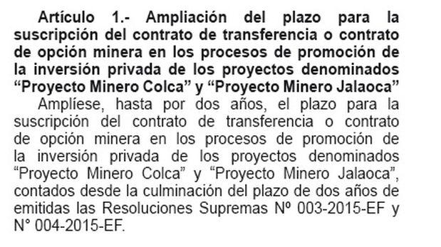 El Gobierno amplió el plazo para la suscripción del contrato de transferencia de dos proyectos mineros (Captura: El Peruano)