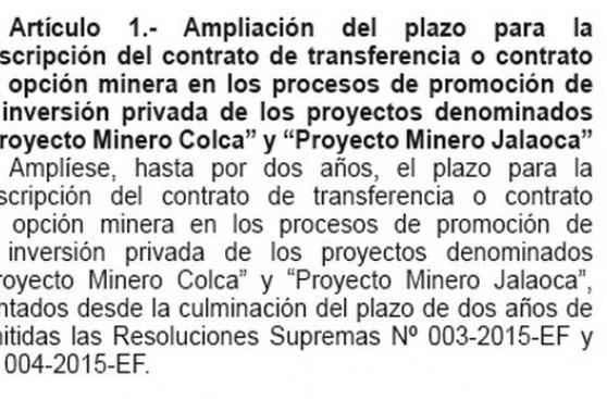 Proinversión: dos proyectos mineros potenciales en cartera
