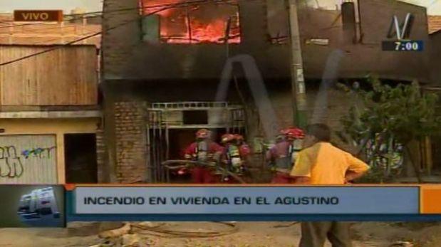Fueron necesarias nueve unidades del Cuerpo General de Bomberos Voluntarios del Perú (Cgbvp) para apagar el incendio (América Tv.)