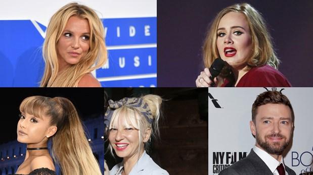 Britney Spears, Adele, Ariana Grande, Sia y Justin Timberlake; nominados en la categoría de Artista pop favorito. (Fotos: Agencia)