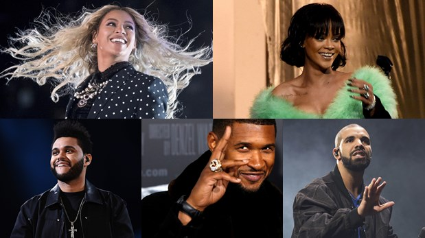 Beyoncé, Rihanna, The Weeknd, Usher y Drake; nominados en la categoría de Artista R&B favorito. (Fotos: Agencia)