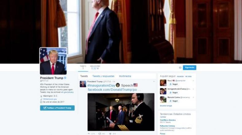 Donald Trump asume cuenta Twitter de la presidencia de EE.UU.