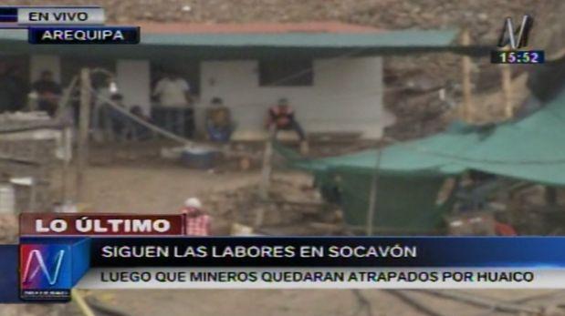 Arequipa: lluvias dificultan labores de recuperación de mineros