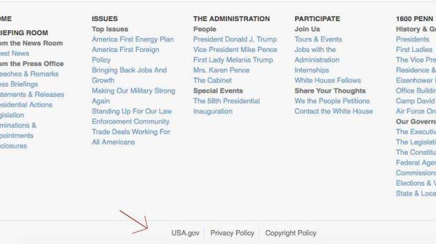 Menú de la Casa Blanca con la administración Trump. (Foto: Captura)