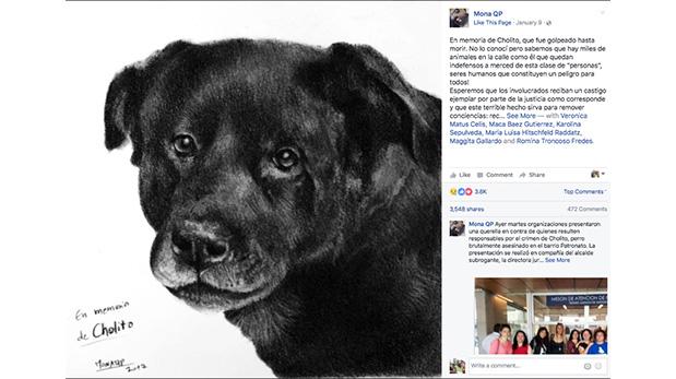 Retrato en carboncillo realizado por la usuaria de Facebook Mona QP en honor a Cholito. (Crédito: Facebook)