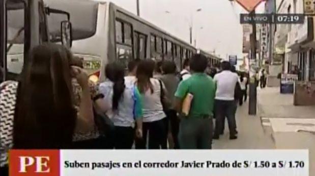 Corredor Javier Prado: malestar en usuarios por alza de pasaje