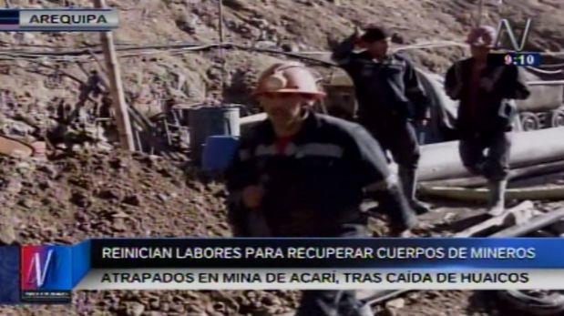 Solo uno de los cuerpos de los mineros atrapados en Acarí, Arequipa, ha sido recuperado. (Video: Canal N)