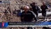 Mineros atrapados: reinician labores de rescate en Acarí