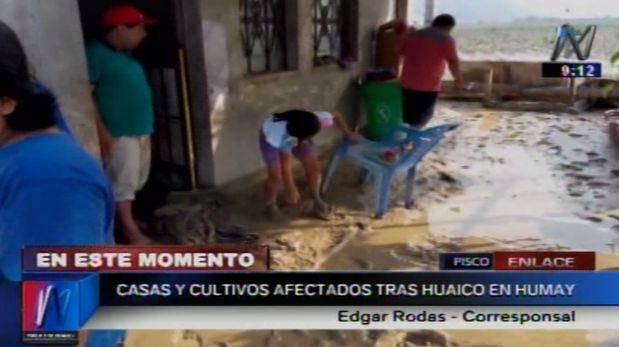 Huaico afectó viviendas de 35 familias en el distrito de Humay, provincia de Pisco (región Ica). (Video: Canal N)