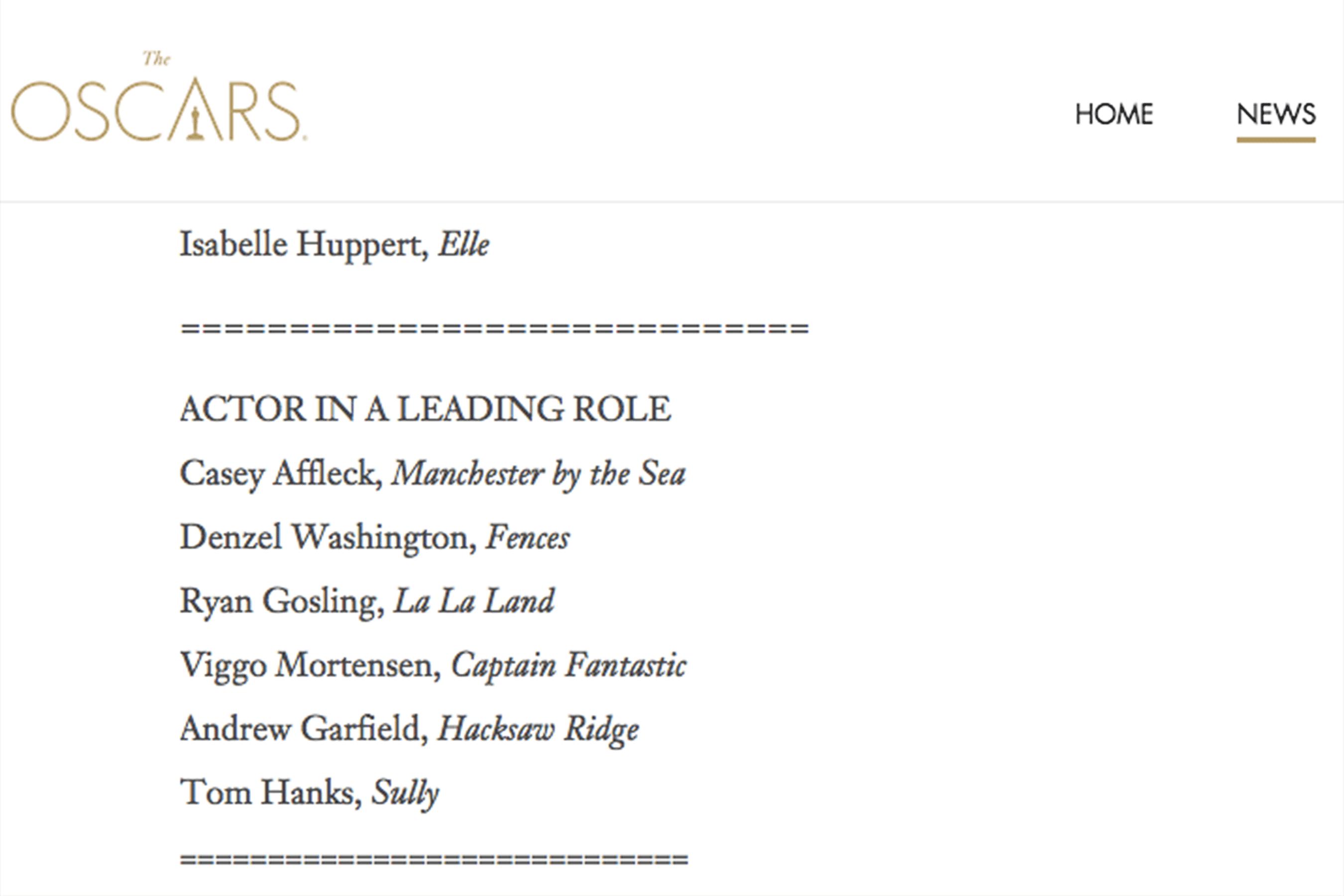 El error de la Academia. (Captura: Oscars.com)