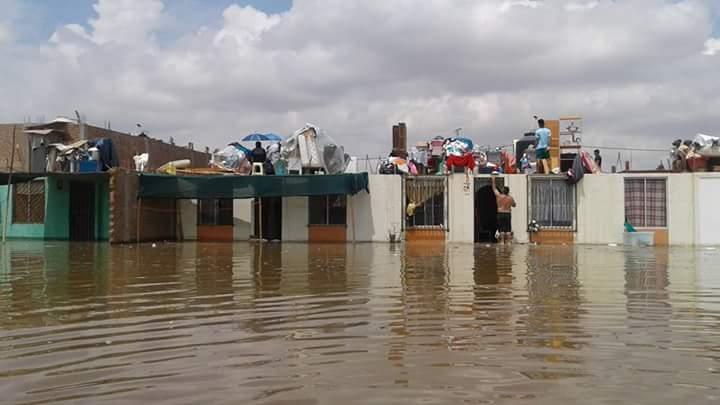 Más de mil viviendas han sido afectadas por inundaciones en el distrito de La Tinguiña, en Ica. (Foto: Juventudes Ica / Twitter)