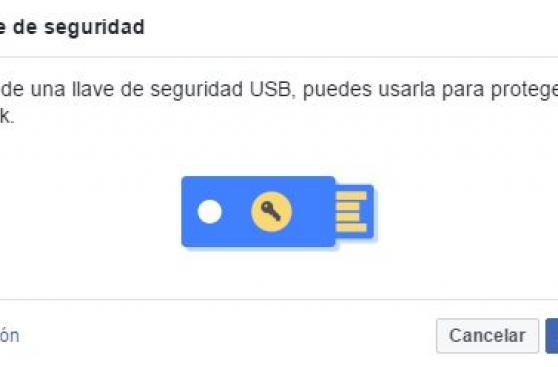 Facebook introduce protección de cuentas con 'llaves' USB