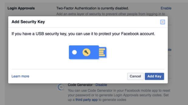 Facebook permitirá usar USB como 'llaves' para proteger cuentas