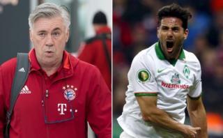 Ancelotti elogió a Claudio Pizarro antes del Bremen-Bayern