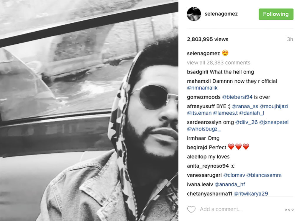 Selena Gomez compartió este expresivo mensaje sobre The Weeknd en Instagram.