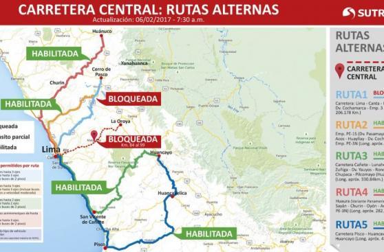 Carretera Central: choferes quedan varados tras cierre de vía
