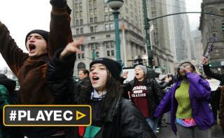 Estudiantes protestan en Nueva York contra política migratoria