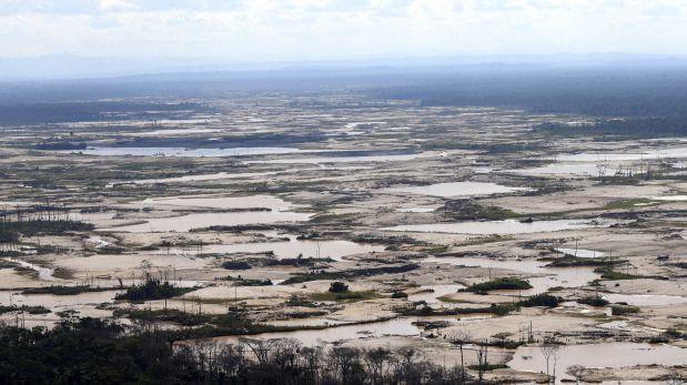 La minería ilegal en Madre de Dios tuvo un incremento importante luego de la construcción de la carretera Interoceánica Sur. Esta es una toma de la zona conocida como La Pampa, en la zona de amortiguamiento de la reserva nacional de Tambopata (foto: Dante Piaggio/El Comercio).