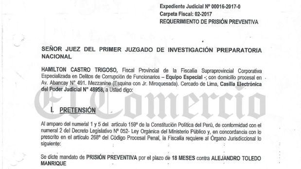 Conoce el documento con el que la fiscalía sustentó el pedido de prisión preventiva para Alejandro Toledo. (Archivo El Comercio)