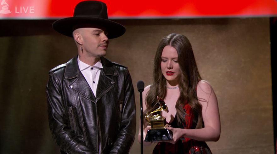 Los mexicanos Jesse & Joy en el Grammy. (Foto: Captura de pantalla)