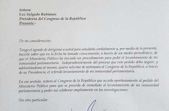 Kenji Fujimori pidió que levanten su inmunidad parlamentaria