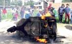 Cajamarca: queman mototaxi tras detención de presuntos abigeos