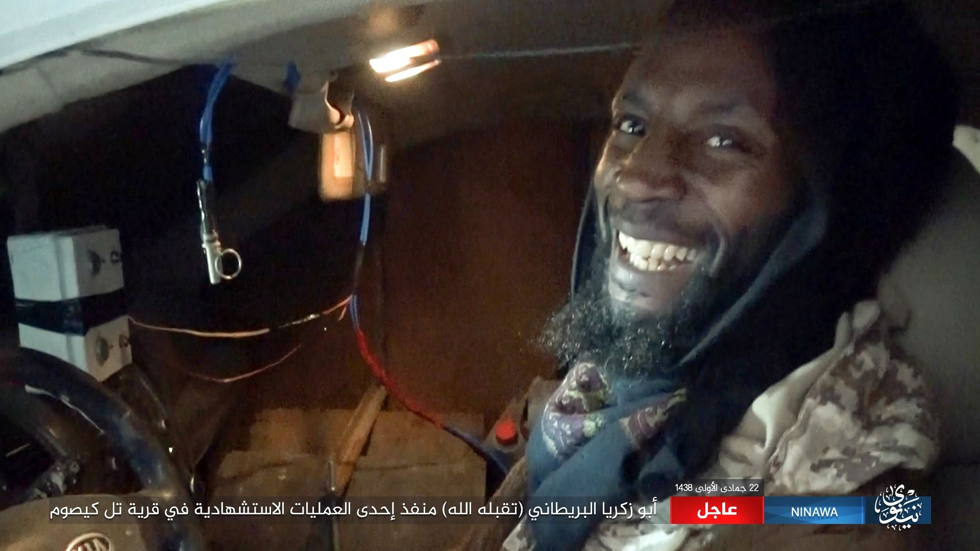 This militant photo released by Ninawa State ? a media arm of the Islamic State group on Tuesday, Feb. 21, 2017 shows Abu Zakariya al-Britani, suicide bomber who attacked a military base in Iraq this week who was a former Guantanamo Bay detainee freed in 2004 after Britain lobbied for his release. The Islamic State group identified the bomber as Abu Zakariya al-Britani and two British security officials also confirmed the man featured in the Islamic State group video was a 50-year-old formerly Briton formerly known as Ronald Fiddler and as Jamal al-Harith. (Ninawa State via AP)