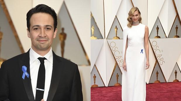 Lin-Manuel Miranda y Karlie Kloss en los Oscar. (Fotos: AFP)