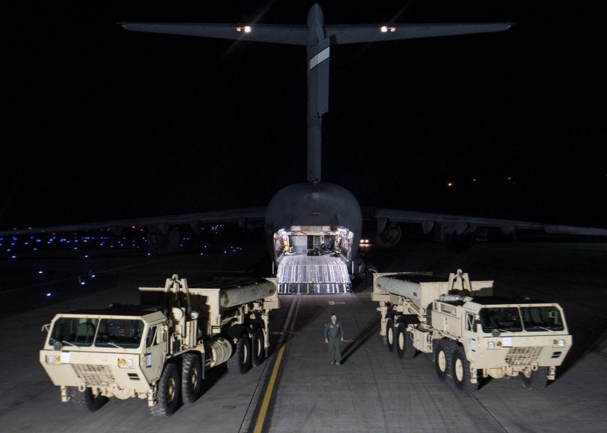 Terminal High Altitude Area Defense (THAAD) interceptors arrive at Osan Air Base in Pyeongtaek, South Korea, in this handout picture provided by the United States Forces Korea (USFK) and released by Yonhap on March 7, 2017. Picture taken on March 6, 2017.    USFK/Yonhap via REUTERS   ATTENTION EDITORS - THIS IMAGE HAS BEEN SUPPLIED BY A THIRD PARTY. SOUTH KOREA OUT. FOR EDITORIAL USE ONLY. NO RESALES. NO ARCHIVE.     TPX IMAGES OF THE DAY          TPX IMAGES OF THE DAY