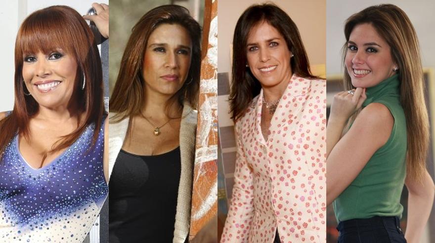 Magaly Medina, Verónica Linares, Pamela Vértiz y Jessica Tapia. (Fotos. USI / archivo El Comercio)
