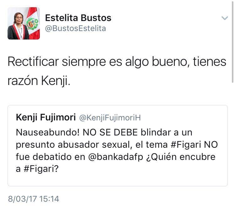 El mensaje de la congresista Estelita Bustos, el cual fue borrado tras varias horas. (Twitter)