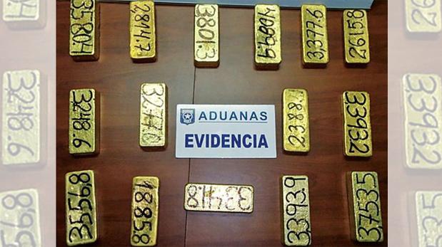 Oro incautado en el 2014 a contrabandistas de Vilches que intentaban meter 48 kilos de oro a Santiago. (Aduana de Chile)