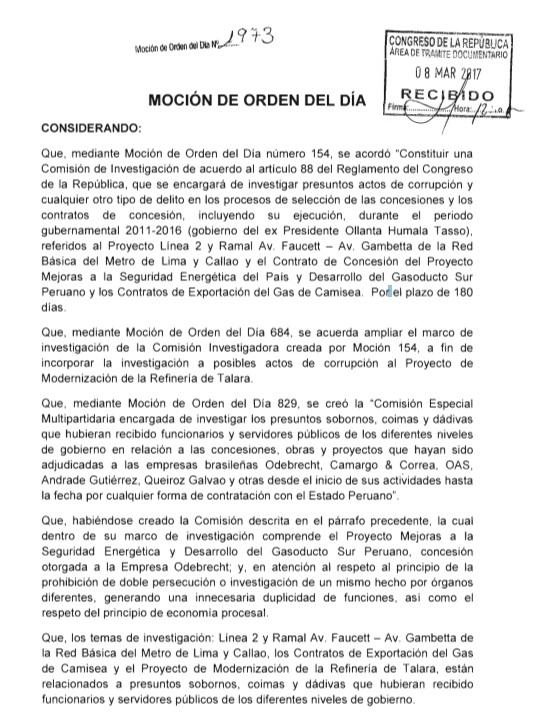 Moción plantea que lo investigado sobre el gobierno de Ollanta Humala sea trasladado a la Comisión Lava Jato.