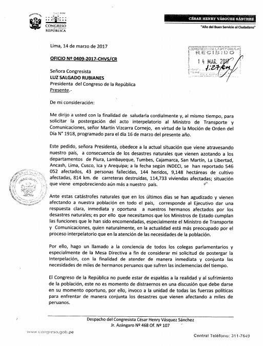 Pedido de postergación de interpelación contra Martín Vizcarra