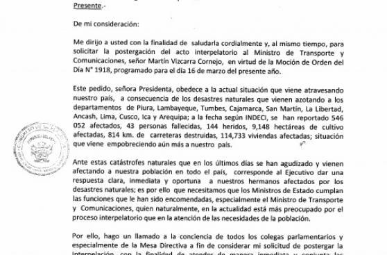 Congreso: piden postergar interpelación a Martín Vizcarra