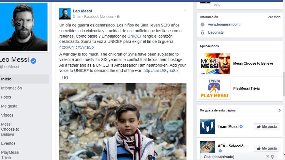 Messi afirma tener 'el corazón destrozado' por la Guerra en Siria