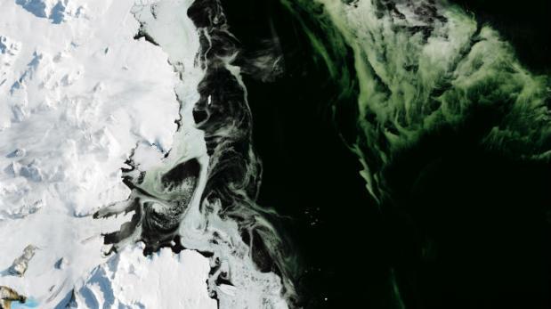 El extraño fenómeno que produce hielo verde en la Antártida