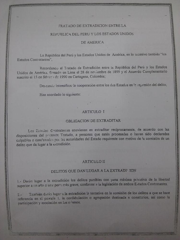 Documento del Tratado de Extradición con Estados Unidos