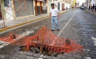 Trujillo: lluvias causan huecos en pistas del centro histórico