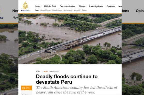 Así informa la prensa mundial sobre las lluvias en el Perú