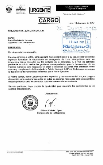 Documento de Gilbert Violeta a Luis Castañeda