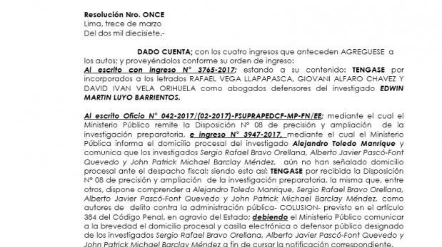 Caso Odebrecht: Toledo también pide acumular sus procesos